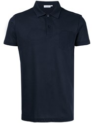 Sunspel Riviera Polo Shirt Blue