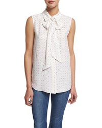 Frame Denim Le Scarf Sleeveless Dot Print Blouse Blanc Dot