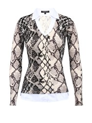 Morgan Snakeskin Print Blouse And Sweater Winter White