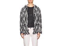 Saint Laurent Ikat Inspired Linen Blend Hooded Cardigan Ivorybone