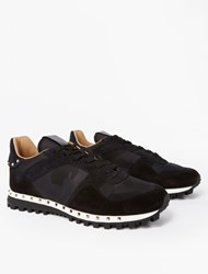 Valentino Black Suede Studded Sole Sneakers