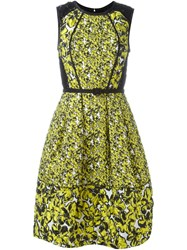 Oscar De La Renta Floral Embroidered Evening Dress Yellow And Orange
