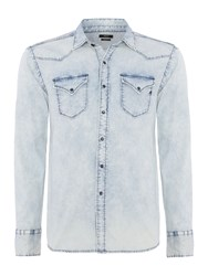 Replay Men's Stretch Denim Shirt Blue