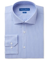 Vince Camuto Men's Slim Fit Comfort Stretch Blue Pinstripe Twill Dress Shirt