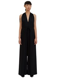Valentino Halterneck Backless Palazzo Jumpsuit Black
