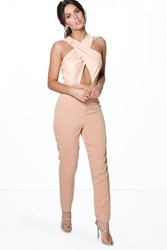 Amy Suedette Cross Over Skinny Leg Jumpsuit