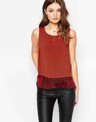 New Look Fringe Sleeveless Shell Top Brown