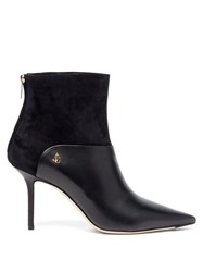 Jimmy Choo Beyla 85 Suede And Leather Point Toe Ankle Boots Black