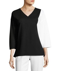 Lafayette 148 New York Colorblock Jersey Top Black White