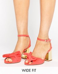 Asos Humbug Wide Fit Bow Sandals Tomato Gold Heel Red