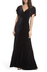 Jenny Yoo Ellis Flutter Sleeve Stretch Velvet Gown Black