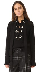 Joseph Lace Up Cashmere Sweater Black
