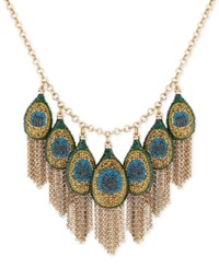 Lucky Brand Gold Tone Peacock Pave Fringe Statement Necklace