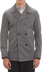 Vince. Neoprene Double Breasted Peacoat Grey Size Xl