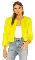 Central Park West Miami Faux Fur Chubbie Jacket In Yellow.