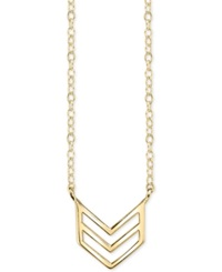 Unwritten Chevron Pendant Necklace In 14K Gold Plated Sterling Silver