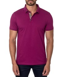 Jared Lang Short Sleeve Cotton Blend Polo Shirt Wine