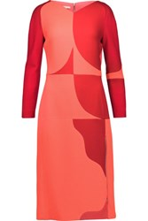 Antonio Berardi Two Tone Wool Crepe Dress Crimson