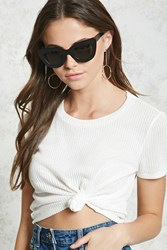 Forever 21 Open Knit Crop Top Ivory
