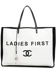 Chanel Vintage 'Ladies First' Canvas Shopper Tote White