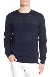 Men's French Connection Pointelle Stripe Knit Crewneck Sweater