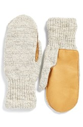 Men's Upstate Stock 'Ragg' Wool Blend Knit Mittens With Deerskin Leather Trim