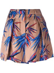 Emilio Pucci Abstract Print Pleated Shorts Brown