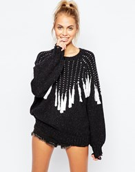 Wildfox Couture Wildfox Oversized Effie Jumper With Boho Tassel Detail Dirtyblack