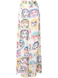 Moschino Faces Print Georgette Trousers 60