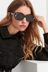 Urban Outfitters Pearl Oversized Oval Sunglasses Black