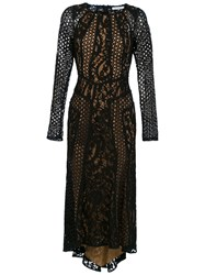 Martha Medeiros Miranda Lace Midi Dress Black