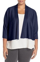 Plus Size Women's Eileen Fisher Kimono Sleeve Crop Cardigan Bonnet Blue