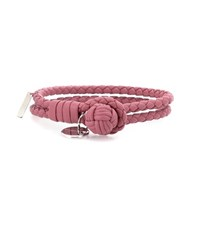 Bottega Veneta Knot Woven Leather Bracelet Pink