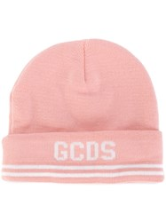 Gcds Stripe Logo Hat Men Polyester One Size Pink Purple