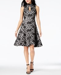 Jax Mock Neck Lace Fit And Flare Dress Black Ivory