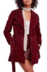Free People Agent 99 Suede Peacoat Wine