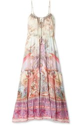 Camilla Tiered Embellished Printed Silk Crepe De Chine Maxi Dress Pink