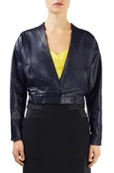 Topshop Verloc Leather Jacket Blue