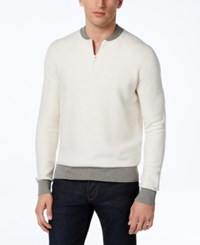 Tommy Hilfiger Men's Carlos Contrast 1 4 Zip Sweater Snow White