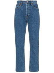 Re Done High Waisted Stove Pipe Cropped Jeans Blue