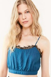 Silence And Noise Silence Noise Into The Night Cropped Cami Blue