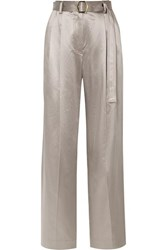 Sies Marjan Blanche Belted Metallic Cotton Blend Satin Wide Leg Pants Platinum