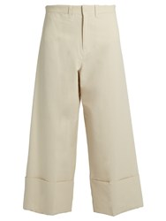 Sea Wide Leg Silk And Cotton Blend Cropped Trousers Ivory