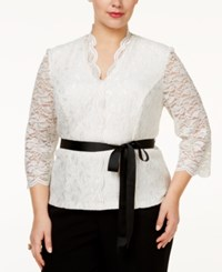 Alex Evenings Plus Size Belted Glitter Lace Blouse Ivory
