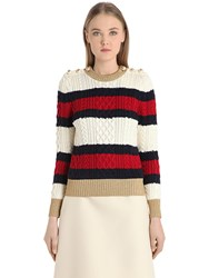 Gucci Striped Wool Cable Knit Sweater W Lurex