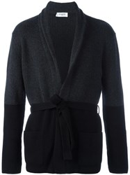 Ports 1961 'Bicolour Fully Fashioned' Cardigan Black