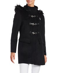Karl Lagerfeld Faux Fur Accented Hooded Toggle Coat Black