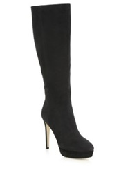 Jimmy Choo Mara Knee High Nubuck Leather Platform Boots Black