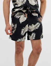 New Look Co Ord Shorts With Leaf Print In Black