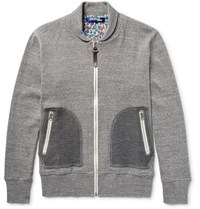 Junya Watanabe Shawl Collar Melange Cotton Jersey Zip Up Sweatshirt Gray